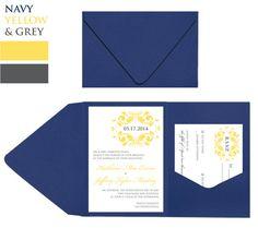 50 Navy Blue Pocket Fold Wedding Invitations by dreamBIGdesign