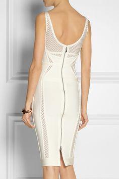 Hervé Léger|Bandage and mesh dress|NET-A-PORTER.COM