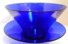 "Vintage Large Cobalt Blue Glass Bowl with Under Plate Platter 12.25"" x 13.44"""