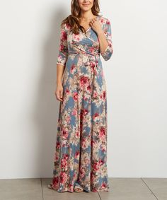 Look what I found on #zulily! Light Blue Floral Surplice Maxi Dress by PinkBlush #zulilyfinds
