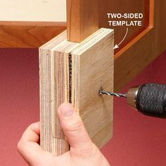 Two-Sided Templates Prevent Tear-Out - How to Install Cabinet Hardware: http://www.familyhandyman.com/kitchen/diy-kitchen-cabinets/how-to-install-cabinet-hardware