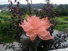 Flor sinamay rosa m.