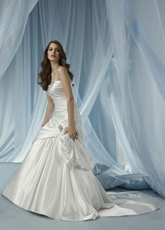 Strapless A-line with natural waist satin bridal gown