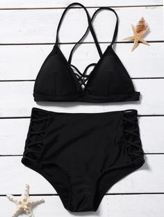 SHARE & Get it FREE | Crossover Lace-Up High Waisted Bikini - BlackFor Fashion Lovers only:80,000+ Items • New Arrivals Daily Join Zaful: Get YOUR $50 NOW!