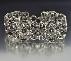 Vintage Dutch Sterling Silver Art Deco Bracelet Wide Filigree Flower Antique Art Deco Jewelry