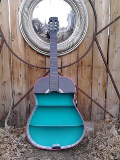Upcycled Guitar Shelf Aqua Black by loveyourspace on Etsy, $149.00