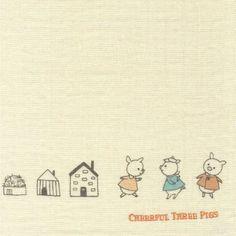 Cheerful Three Pigs Textile World, Echino, Cute Little Drawings, Three Little Pigs, Japanese Fabric, Modern Fabric, Illustrators, Fairy Tales, Craft Supplies