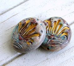 Rustic Polymer Clay Disc Beads  Tulips by BeadsByEarthTones, $5.50