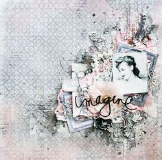 Scraps of Elegance scrapbook kits: Lisa Griffith created this amazing and dramatic pink and grey mixed media layout with our May 2016 'Belle Journee' kitSubscribe to our kits and get a new box of mixed media scrapbooking fun in the mail each month! www.scrapsofdarkness.com