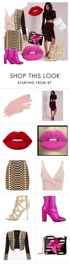 """""""A night to remember"""" by tiakemp4368 ❤ liked on Polyvore featuring Jane Iredale, Missguided, Lime Crime, Glitter Pink, Balmain, Sergio Rossi, Just Cavalli and Betsey Johnson"""