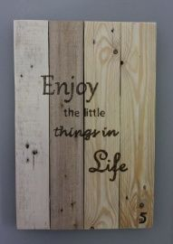 Tekstbord pallethout,reclaimed wood, Enjoy the little things in life €15,-