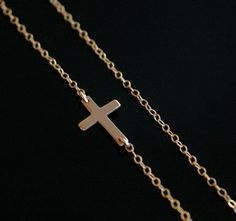 Celebrity Style Horizontal Sideway Cross Gold Silver Pendant Necklace Jewelry Gß