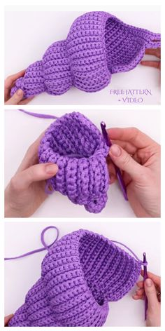 Spiral Shell Free Crochet Patterns + Video - DIY Magazine Crochet will be a process Crochet Fish, Crochet Home, Crochet Crafts, Yarn Crafts, Free Crochet, Beaded Crafts, Knit Crochet, Knitted Baby, Knitted Dolls