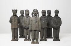 Prune Nourry Mini Terracotta Daughters (Army), Terracotta, 38 x 12 x 12 cm , photograph by Anne-Gloria Lefevre French Artists, Asian Art, Terracotta, Daughters, Garden Sculpture, Army, Statue, Contemporary, Mini