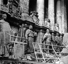 Interior of the Reichstag building after the Battle of Berlin, May 1945. The walls were covered with soviet graffiti.