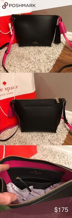 "💕Kate Spade Pepper Crossbody Bag💕 ⭐NWT Kate Spade Pepper Crossbody Bag.. 🔹Pebbled Leather crossbody purse with gold toned hardware in Color Black & Sweetheart Pink 🔹Top zip closure🔹Embossed logo in front; Double toned decorative tassels attached to strap🔹Adjustable strap with 22"" drop🔹Interior features 1 zip pocket and 1 slip pocket🔹Approx  11 "" (L) x 8 "" (H) x 3 "" (W)❌NO TRADES❌ kate spade Bags Crossbody Bags"