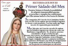 MENSAJE DADO POR LA VIRGEN DE FÁTIMA A SOR LUCÍA: PROMESA AL INMACULADO CORAZÓN DE MARÍA. 5 primeros sábados de mes.