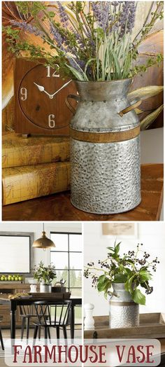 So cute! Rustic galvanized milk can turns into a farmhouse vase! #farmhouse #farmhousestyle #fixerupper #ad