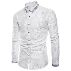 16.63 Polka Dot Print Long Sleeve Slim Fit Casual Shirt - White - 2xl 8c3d9914a