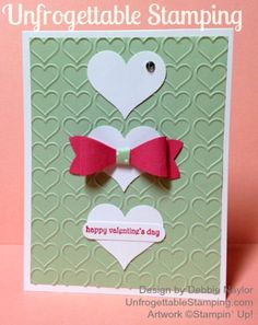 Unfrogettable Stamping | Valentine card featuring the Stampin' Up! Sweetheart and Build-a-Bow punches