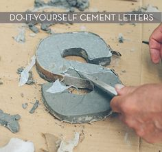 DIY Make It: Create Your Own Cement Letters ...I love these you could add marbles colored glass and more ...