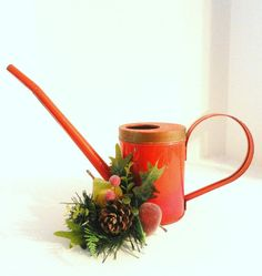Vintage Primitive Red Metal Watering Can by happenstanceNwhimsy, $15.00