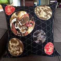 Big Dragon Cushion for my dragon-loving son :-) Big Dragon, Cushions, Throw Pillows, Quilts, Handmade, Blue, Hand Made, Cushion, Decorative Pillows