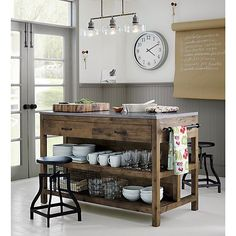 Bluestone Reclaimed Wood Large Kitchen Island - Crate and Barrel Kitchen Remodel, New Kitchen, Wood Kitchen, Home Kitchens, Diy Kitchen, Rustic Kitchen, Reclaimed Wood Kitchen Island, Wood Kitchen Island, Kitchen Design