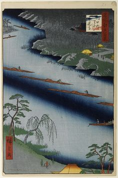 """Hiroshige - One Hundred Famous Views of Edo Spring 20 The Kawaguchi Ferry and Zenkōji temple (川口のわたし善光寺 Kawaguchi no watashi Zenkōji?)Arakawa River, Zenkō-ji templeA year after Hiroshige designed the print, the Buddha in the Amida Hall at the top was due to be exhibited publicly for the first time in 13 years; in a pun Hiroshige covered the hall of this """"secret Buddha"""" with the title cartouche1857 / 2Kita / Kawaguchi, Saitama"""