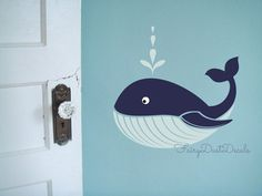 Whale Wall Decal Ocean Beach Fish wall decor by FairyDustDecals