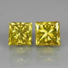Beautifully crafted pair of Top Yellow Princess Cut Diamonds Princess Cut Diamonds, Colored Diamonds, Natural Gemstones, Diamond Cuts, Shot Glass, Candle Holders, Candles, Yellow, Top