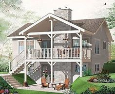 Discover the plan 3955 - Leslie from the Drummond House Plans house collection. Affordable simple northwest style lakefront home plan, 3 bedrooms, 2 living , 2 fireplaces, covered deck. Total living area of 1664 sqft. Basement House Plans, Lake House Plans, House Floor Plans, Walkout Basement, Modern Basement, Basement Ideas, Cottage House Plans, Cottage Homes, Cottage Bedrooms