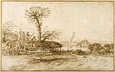 Giovanni Francesco Barbieri, or Il Guercino, A River in Flood, and Peasants with Axes and Other Tools (by 1623)