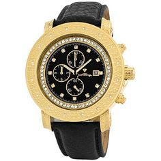 "JBW Men's JB-6114L-E ""Melbourne"" Chronograph Black Dial Diamond Watch JBW. $289.58. 18K Gold-Plated bezel with two rows diamond pattern detail; 0.16CTW of genuine diamonds on the bezel. Water-resistant to 330 feet (100 M). Black dial with genuine crystal hour markers; 3 black functional chronograph sub dials; Illuminated hour and minute hands. Black genuine calfskin leather band with 18k gold-plated adjustable buckle. Highest Standard Quartz Chronograph Movement"