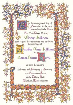 Renaissance/Medieval Wedding invitation.