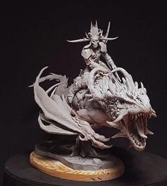 This is a big work sculpted for Terrible Kids Stuff, I love the drawings from Filip Burburan, and when I saw this dragon concept I though Fantasy Creatures, Mythical Creatures, Digital Sculpting, Dragons, Fantasy Miniatures, Creature Concept, Sculpture Clay, Dragon Art, Creature Design