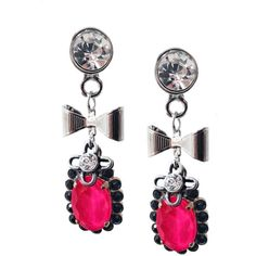 Hot Pink Dangle and Drop Earrings With Crystals ($109) ❤ liked on Polyvore featuring jewelry, earrings, rose earrings, swarovski crystal heart pendant, swarovski crystal heart earrings, earring charms and dangle earrings