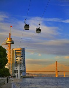 Vasco da Gama Tower and bridge, Nations Park Lisbon Portugal