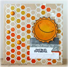 Li'l Buck's Creations: Hexagons in Kraft and Orange-Paper Smooches SPARKS Challenge