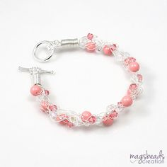 Salmon Pink Pearl Bracelet, Coral Pink, Bride, Bridesmaid, Bridal Jewelry, Beach Wedding Party Jewelry, Wire Crochet, Summer Wedding
