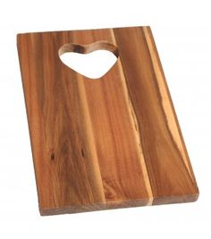 Acacia wood chopping board, carving board, with heart shape handle.