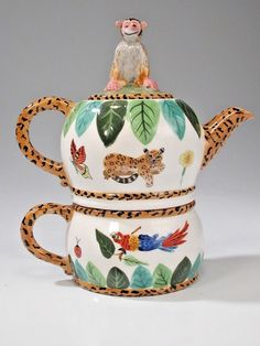 Lynn Chase Jungle Jubilee Tea-for-One Stacked Tea Pot & Cup Monkey Lid Unused Tea For One, My Tea, Teapots And Cups, Teacups, Tea Kettles, Tea Cozy, China Dinnerware, Tea Sets, Sugar Bowl