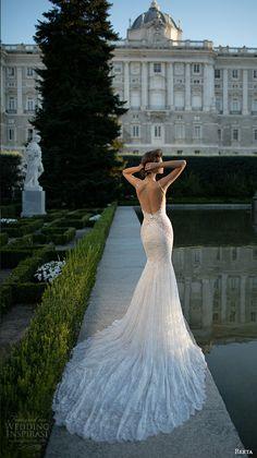 berta fall 2016 bridal deep v plunging neckline spagetti strap lace embroidered mermaid wedding dress lace bolero jacket
