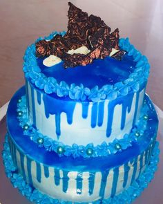 Blue Color 2 Tier Birthday Cake 2 Tier Birthday Cakes, Two Tier Cake, Cake Delivery, Color 2, Tiered Cakes, 2 Colours, Desserts, Blue, Food