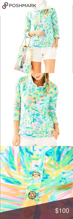 Lilly Pulitzer Popover Sea Salt and Sun Lilly Pulitzer Popover Sea Salt and Sun. UPF 50+ .100% cotton. Firm price. Gorgeous Popover with Lilly Pulitzer gold logo bottoms. New with tags Lilly Pulitzer Sweaters V-Necks