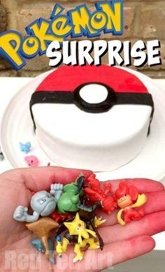 DIY Pokemon Cake - Surprise Pinata Pokeball Cake - Red Ted Art - Make crafting with kids easy & fun Pokeball Cake, Pikachu Cake, Easy Pokemon, Pokemon Pokemon, Pokemon Party Decorations, Birthday Party Celebration, 8th Birthday, Birthday Ideas, Pokemon Birthday Cake