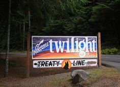 """A billboard just outside of Forks marked the """"treaty line"""" where vampires were not allowed to cross."""