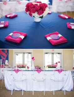 pink superman logo on clear kids' chairs