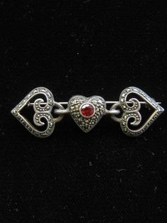 Sterling Silver Red Rhinestone Marcasite Heart by mimisvintageshop, $30.00