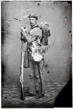 Civil war soldiers carried about 40 pounds while on the march. Canteen for water haversack for food and knapsack for sleeping/personal items. Cap box cartridge box bayonet and musket or rifle were all for fighting.